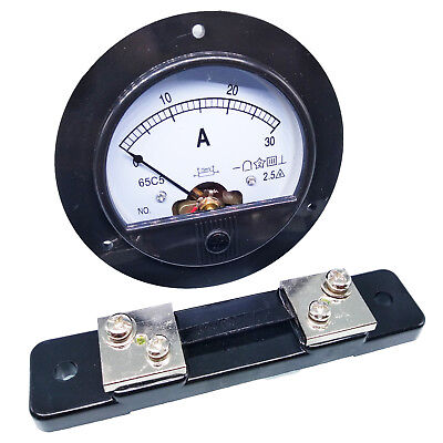 DC 0 ~ 30A Round Analog AMP Current Pointer Needle Panel Meter Ammeter & Shunt