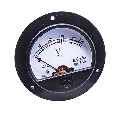 US Stock AC 0 ~ 250V Round Analog Volt Pointer Needle Panel Meter Voltmeter
