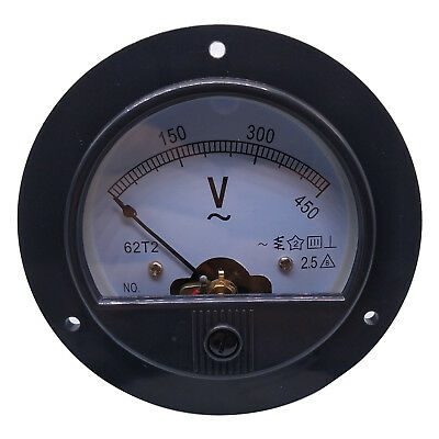 US Stock AC 0 ~ 450V Round Analog Volt Pointer Needle Panel Meter Voltmeter