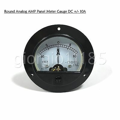 New DC -10A ~ +10A Round Analog AMP Current Pointer Needle Panel Meter Ammeter
