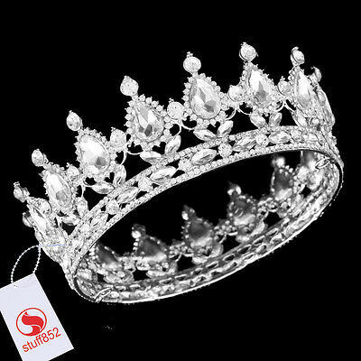 Baroque Crystal Queen Crown Tiara Teardrop Rhinestone Full Silver Plating