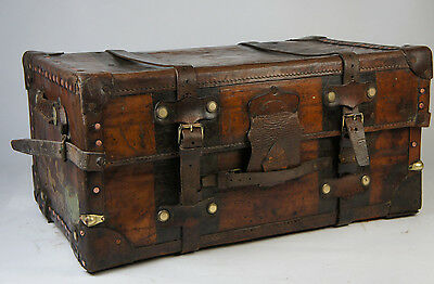 Early Solid Leather Antique Wardrobe Travel Trunk by Foots & Sons