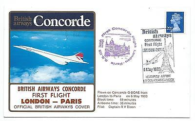 1983. Concorde G-Boae. First Flight From London To Paris. British Airways Fdc