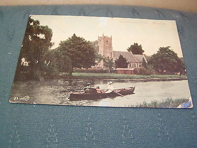 1909 Church And River Hartford - Early Huntingdonshire Postcard