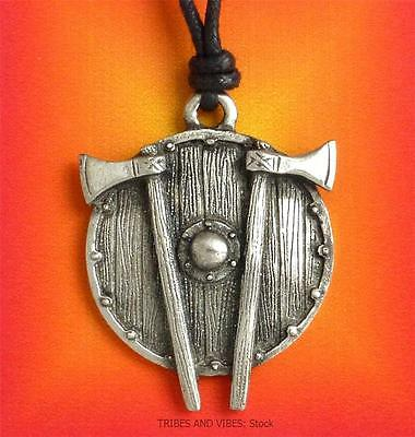 Viking Shield Axes Pendant Necklace Pewter Norse Pagan warrior larp NEW