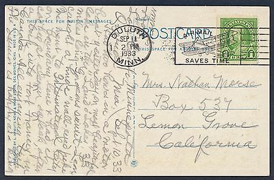 UNITED STATES OF AMERICA 1933 OLD POSTCARD Used USA #a5 DULUTH CANCEL!