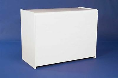 WHITE SHOP DISPLAY COUNTER UNIT 1200mm RETAIL FITTINGS CASH TILL LARGE SHELF