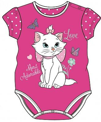 Official Licensed Disney Baby Marie Aristocats Short Sleeved Baby Vest Grow
