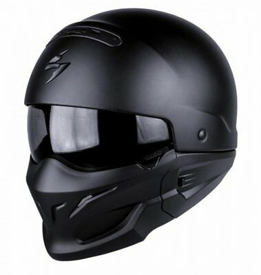 Scorpion Exo Combat / Covert Open Face / Full Face Motorcycle Helmet Matt Black