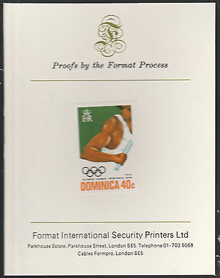 Dominica (1899) - 1976 Relay 40c imperf on Format International PROOF  CARD