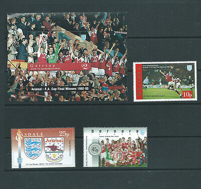 GB various local issues 3 MNH stamps and a minisheet all about Arsenal FC