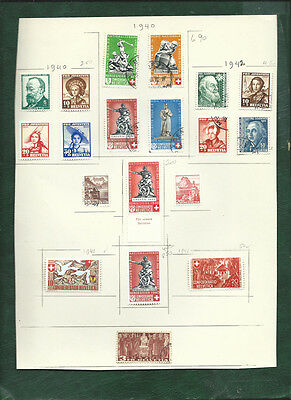 Switzerland Helvetia 1940-42 stamps MJH and used on page