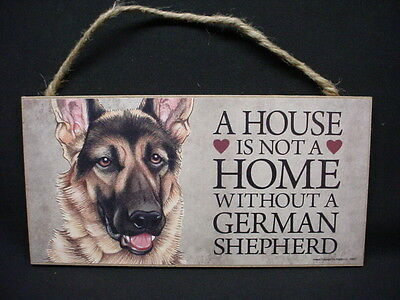 GERMAN SHEPHERD A House Is Not Home DOG wood SIGN wall PLAQUE sheperd puppy NEW