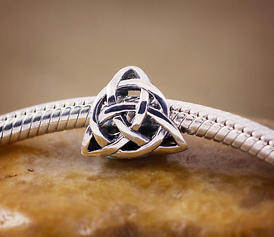 Genuine SOLID 925 Sterling silver charm bead celtic knot trinity fits bracelet T