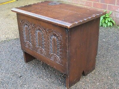 Victorian antique solid carved oak 6 plank miniature coffer blanket box chest