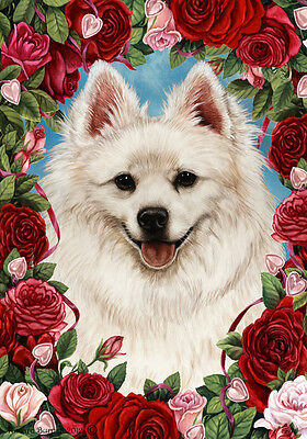 Large Indoor/Outdoor Roses Flag - American Eskimo 19126