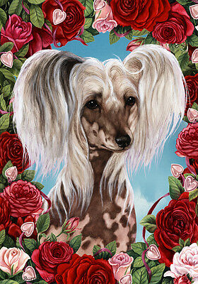 Large Indoor/Outdoor Roses Flag - Chinese Crested 19069