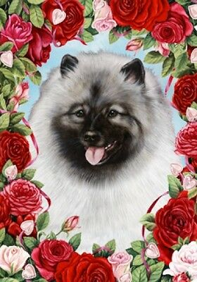 Large Indoor/Outdoor Roses Flag - Keeshond 19017