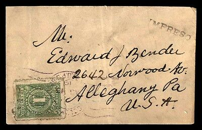 Colombia to United States Alleghany 1919 Single Franked Cover