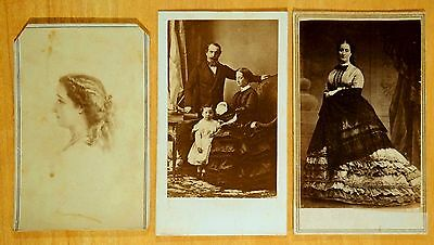 Empress Eugenie LOUIS NAPOLEON III Prince Imperial 3 Carte de Visite Photos 1860
