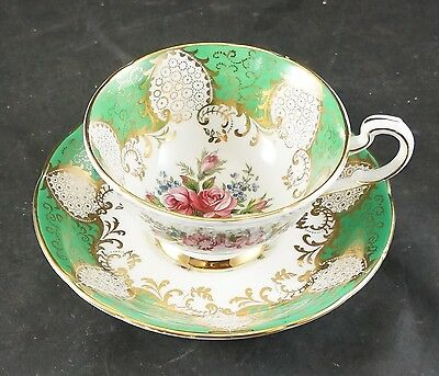 PARAGON Fine Bone China Cup and Saucer Roses with Green and Gold Trim
