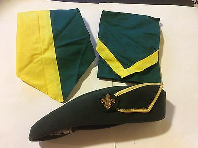 Vintage Scout Leader Hat Green Felt With Badge + 2 Scarves