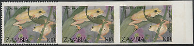Zambia (1916) - 1989 Reed Frogs PART IMPERF STRIP unmounted mint