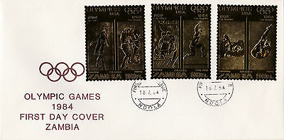 Zambia (1909) - 1984 OLYMPICS Gold stamps on FIRST DAY COVER