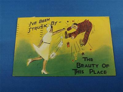 Funny Postcard Been Struck By The Beauty Of This Place Woman Punching Man 1947