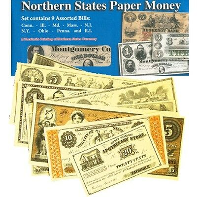 Civil War Northern States Paper Money Repo Set Contains 9 Assorted Bills 38269