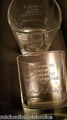 Jack Daniel's Old No 7 Whiskey Glasses Etched Set of 2 Rocks Square bottom NEW