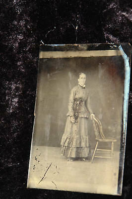 Antique Tintype Photo Woman in Mourning Dress Posing with Chair Photograph