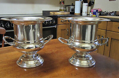 Old Par Edwardian Lrge Viners Sheffield Silver Plate Champagne Wine Ice Buckets
