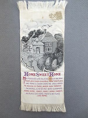 Antique BOOKMARK Woven Silk Stevengraph Home Sweet Home Verse Cottage Beehives