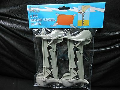 Beach Towel Clips / Anchors 4 Pack Gray-Colored Whale with Reusable Bag