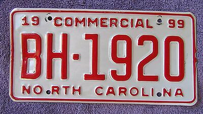 1999 North Carolina Commercial License Plate
