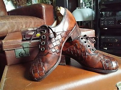 Rare 70s Russell & Bromley Basket Weave Platform Shoes,Bowie,Slade,Glam Rock.S 9