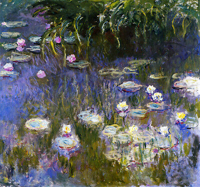 """Claude Monet :: Yellow & Lilac Waterlilies Water Lily :: 24"""" Canvas Art Print !"""