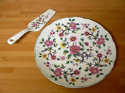 James Kent Old Foley CHINESE ROSE Cake Plate and Cake Slice