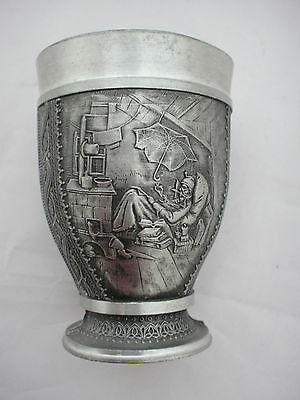 Lovely Quality Small Pewter Beaker With Elaborate Embossed Design