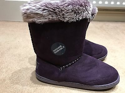 M&s Secret Support Faux Suede  Fur Lined Slipper Boots 6 New