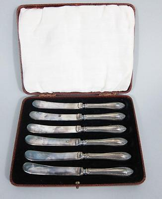 SET 6 ART DECO SOLID STERLING SILVER BUTTER KNIVES 1932 cake fork cutlery spoon
