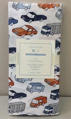 NIP Pottery Barn Kids Baby CARS ORGANIC Cotton Crib Fitted Sheet