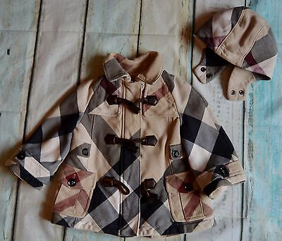Burberry Baby Girls Designer Checked Trench Coat 12 Months Vgc