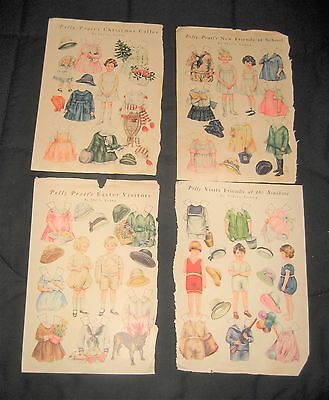Antique 1919-21 Polly Pratt's Easter Paper Dolls Good Housekeeping-4 Uncut Pages
