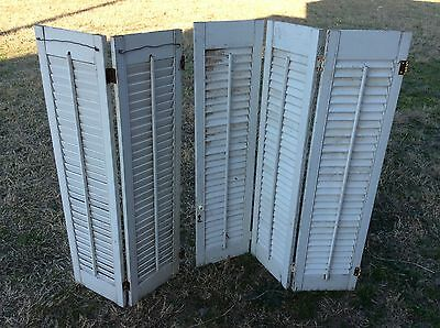 VTG  Wood Interior Louver Plantation Window Shutters wooden panel white chic