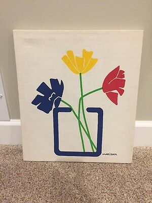 Vtg Mid Century Stretched Fabric Wall Art Marushka Flowers in a vase