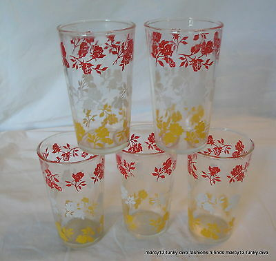 """5 Vintage Matching Hazel Atlas Red White & Yellow Flowers  4.5"""" Tall Glasses"""