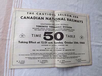 Canadian National Railways Cn Time Table 1960 Toronto Terminals Division