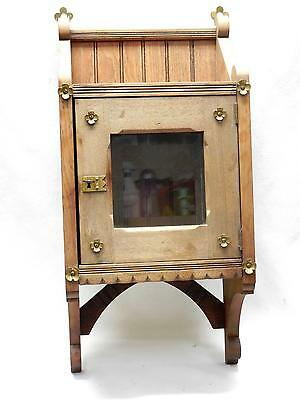Small Antique Hanging Medicine Cabinet Beveled Glass Door, Brass Embellishments